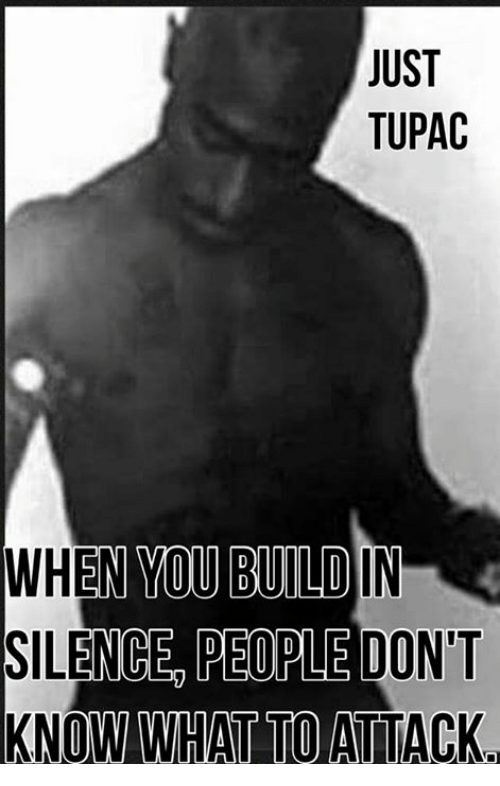 Memes, Tupac, and Silence: JUST  TUPAC  WHEN YOU BUILD  SILENCE PEORLE DON'T  KNOW WHAT TO ATTACK.