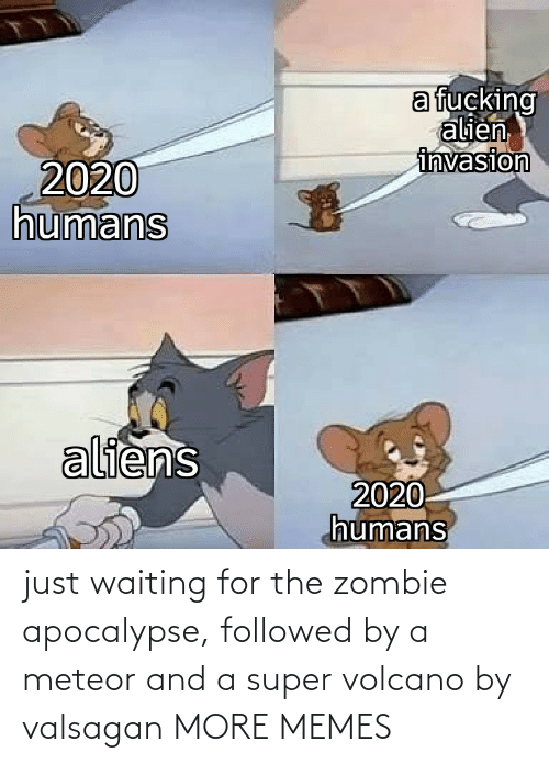 Zombie: just waiting for the zombie apocalypse, followed by a meteor and a super volcano by valsagan MORE MEMES