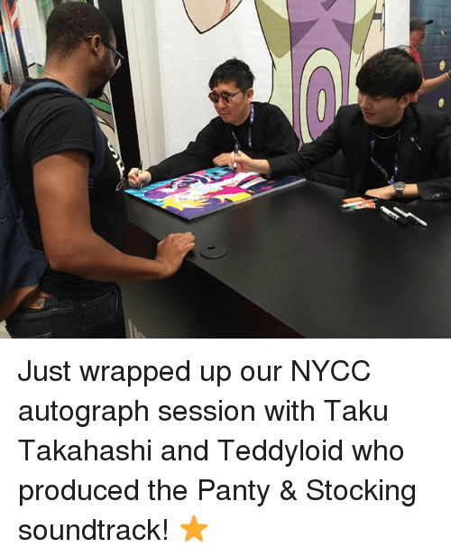 Teddyloid: Just wrapped up our NYCC autograph session with Taku Takahashi and Teddyloid who produced the Panty & Stocking soundtrack! ⭐️