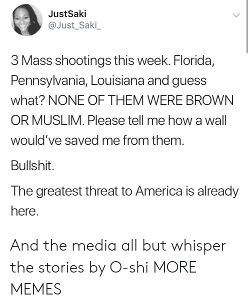 America, Dank, and Memes: JustSaki  @Just_Saki  3 Mass shootings this week. Florida,  Pennsylvania, Louisiana and guess  what? NONE OF THEM WERE BROWN  OR MUSLIM. Please tell me how a wall  would've saved me from them  Bullshit.  The greatest threat to America is already  here And the media all but whisper the stories by O-shi MORE MEMES