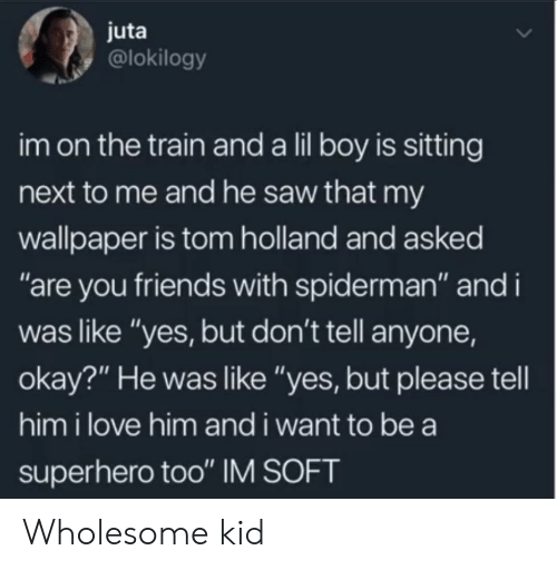 "Spiderman: juta  @lokilogy  im on the train and a lil boy is sitting  next to me and he saw that my  wallpaper is tom holland and asked  ""are you friends with spiderman"" and i  was like ""yes, but don't tell anyone,  okay?"" He was like ""yes, but please tell  him i love him and i want to be a  superhero too"" IM SOFT Wholesome kid"
