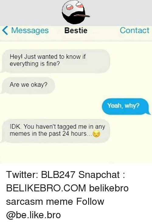 Be Like, Meme, and Memes: K Messages Bestie  Contact  Hey! Just wanted to know if  everything is fine?  Are we okay?  Yeah, why?  IDK. You haven't tagged me in any  memes in the past 24 hours Twitter: BLB247 Snapchat : BELIKEBRO.COM belikebro sarcasm meme Follow @be.like.bro