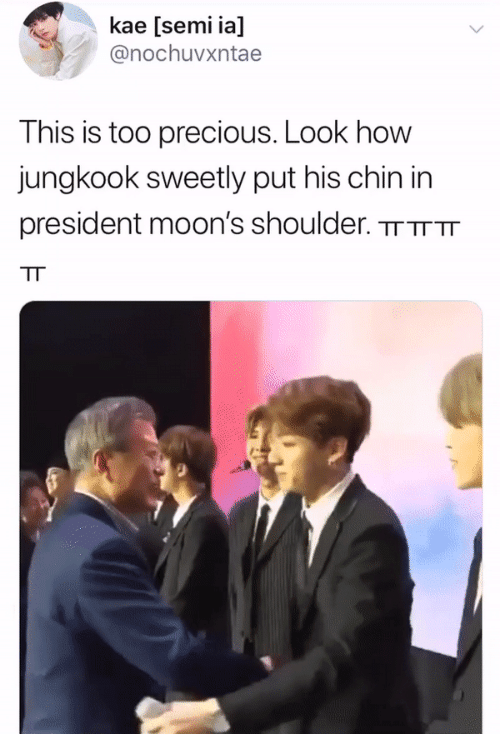 Precious, How, and President: kae [semi ia]  @nochuvxntae  This is too precious. Look how  jungkook sweetly put his chin in  president moon's shoulder. TTTTTT