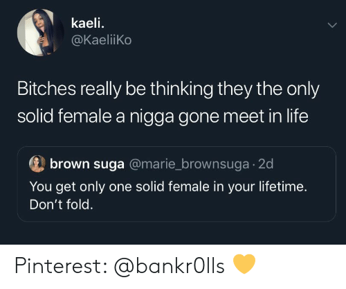 Life, Pinterest, and Lifetime: kaeli.  @KaeliiKo  Bitches really be thinking they the only  solid female a nigga gone meet in life  brown suga @marie_brownsuga 2d  You get only one solid female in your lifetime.  Don't fold. Pinterest: @bankr0lls 💛