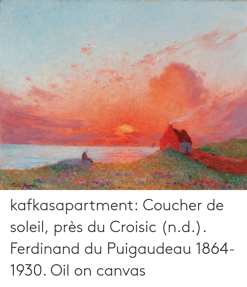 Canvas: kafkasapartment: Coucher de soleil, près du Croisic (n.d.). Ferdinand du Puigaudeau 1864-1930. Oil on canvas