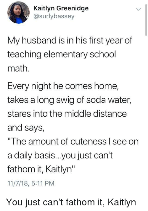 """School, Soda, and Elementary: Kaitlyn Greenidge  @surlybassey  My husband is in his first year of  teaching elementary school  math.  Every night he comes home,  takes a long swig of soda water,  stares into the middle distance  and says,  The amount of cuteness l see on  a daily basis...you just can't  fathom it, Kaitlyn""""  11/7/18, 5:11 PM You just can't fathom it, Kaitlyn"""