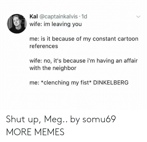 Dank, Memes, and Shut Up: Kal @captainkalvis 1d  wife: im leaving you  me: is it because of my constant cartoon  references  wife: no, it's because i'm having an affair  with the neighbor  me: *clenching my fist* DINKELBERG Shut up, Meg.. by somu69 MORE MEMES