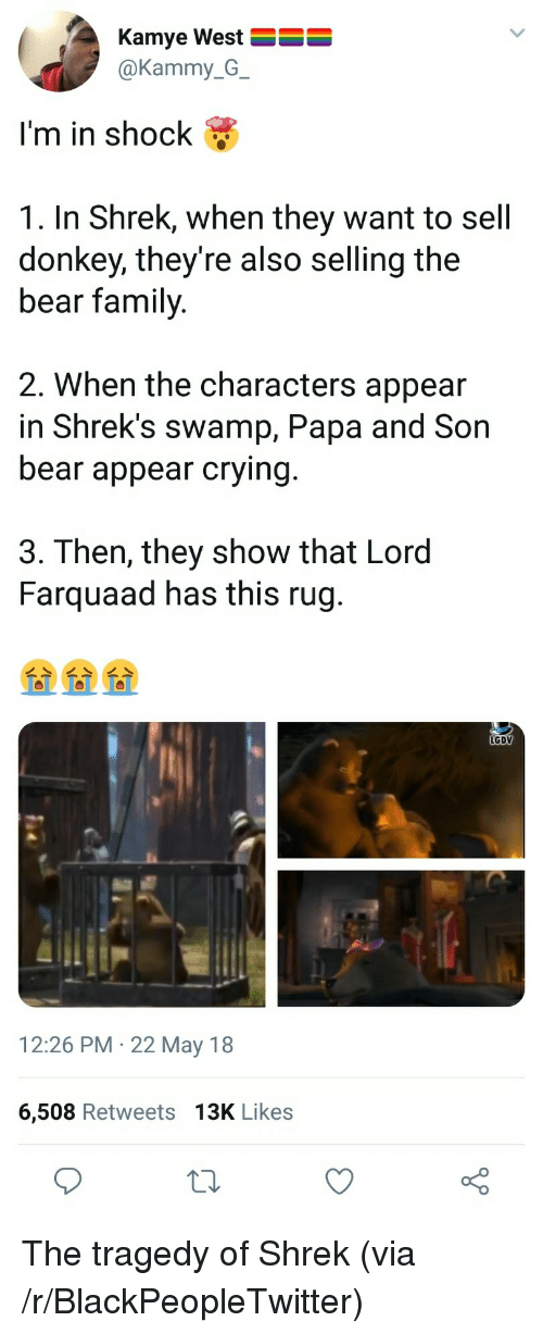 In Shock: Kamye West  @Kammy_G_  I'm in shock &  1. In Shrek, when they want to sell  donkey, they're also selling the  bear family  2. When the characters appear  in Shrek's swamp, Papa and Son  bear appear crying  3. Then, they show that Lord  Farquaad has this rug  LGDV  12:26 PM 22 May 18  6,508 Retweets 13K Likes <p>The tragedy of Shrek (via /r/BlackPeopleTwitter)</p>