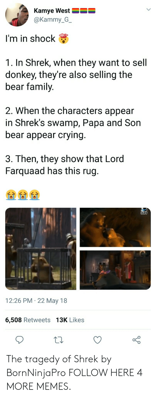 In Shock: Kamye West  @Kammy_G_  I'm in shock  1. In Shrek, when they want to sell  donkey, they're also selling the  bear family  2. When the characters appear  in Shrek's swamp, Papa and Son  bear appear crying  3. Then, they show that Lord  Farquaad has this rug.  LGDV  12:26 PM 22 May 18  6,508 Retweets 13K Likes The tragedy of Shrek by BornNinjaPro FOLLOW HERE 4 MORE MEMES.