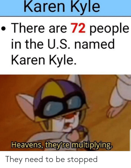 They, Kyle, and People: Karen Kyle  There are 72 people  in the U.S. named  Karen Kyle  Heavens, theyre multiplying. They need to be stopped