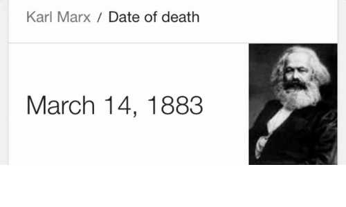 Date, Death, and Dank Memes: Karl Marx Date of death  March 14, 1883