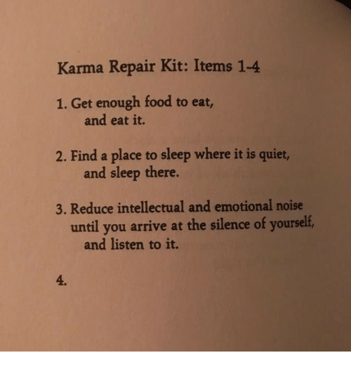 Food, Karma, and Quiet: Karma Repair Kit: Items 1-4  1. Get enough food to eat,  and eat it.  2. Find a place to sleep where it is quiet,  and sleep there  3. Reduce intellectual and emotional noise  until you arrive at the silence of yourself,  and listen to it.  4.