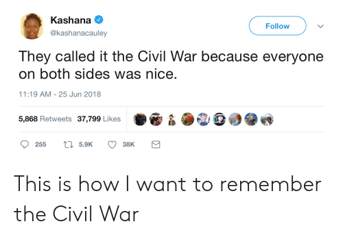 the civil war: Kashana  @kashanacauley  Followv  They called it the Civil War because everyone  on both sides was nice.  11:19 AM-25 Jun 2018  5,868 Retweets 37,799 Likes  255  5.9K  38K This is how I want to remember the Civil War