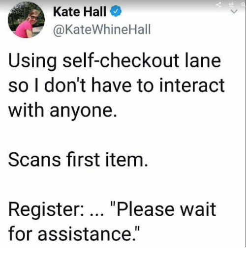 "Scans: Kate Hall  @KateWhineHall  Using self-checkout lane  so I don't have to interact  with anyone.  Scans first item  Register: ""Please wait  for assistance."""