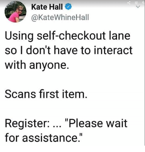 "Scans: Kate Hall  @KateWhineHall  Using self-checkout lane  so I don't have to interact  with anyone.  Scans first item  Register: ""Please wait  for assistance.""  Il"
