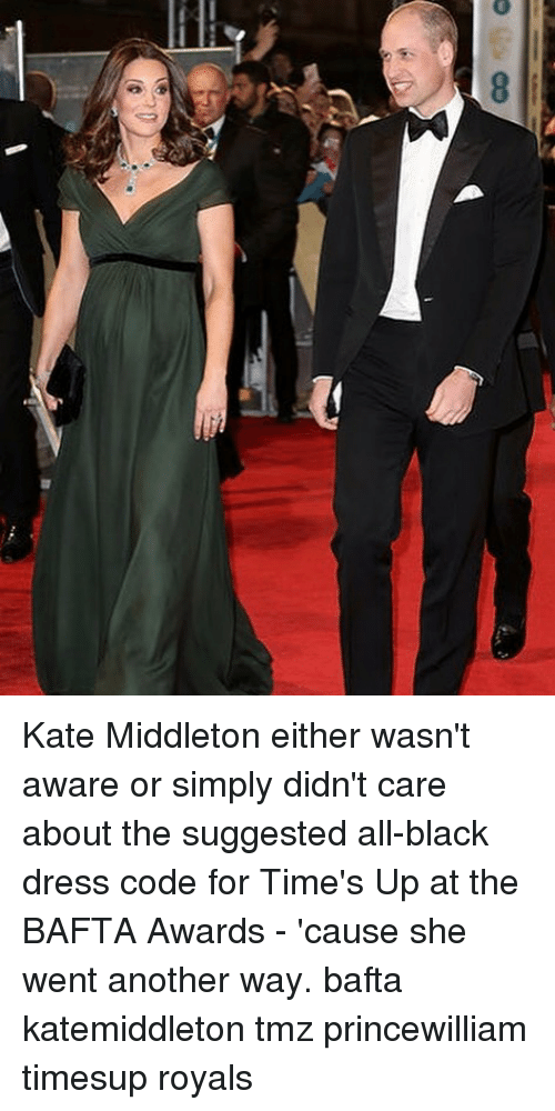 Kate Middleton: Kate Middleton either wasn't aware or simply didn't care about the suggested all-black dress code for Time's Up at the BAFTA Awards - 'cause she went another way. bafta katemiddleton tmz princewilliam timesup royals