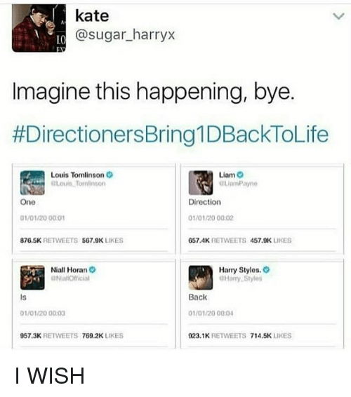 Memes, Sugar, and Back: kate  @sugar_harryx  LO  Imagine this happening, bye.  #DirectionersBringt DBackToLife  Louis Tomlinson  Louits Tominson  Liam O  One  Directior  1/01/20 00.01  01/01/20 00:02  876.5KRETWEETS 567,9K LIKES  657 4K RETWEETS 457.9K LIKES  Niall Horan  NialOfficial  Harry Stylos. O  Hary Styles  Is  Back  1/01/20 00:03  01/01/20 00:04  57.3K RETWEETS 769.2K LIKES  923.1K RETWEETS 714.5K LIKES I WISH