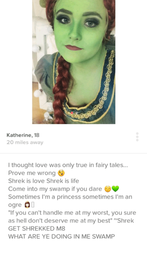 """shrek is love shrek is life: Katherine, 18  20 miles away  l thought love was only true in fairy tales  Prove me wrong  Shrek is love Shrek is life  Come into my swamp if you dare  Sometimes I'm a princess sometimes I'm an  ogre OO  """"If you can't handle me at my worst, you sure  as hell don't deserve me at my best"""" NShrek  GET SHREKKED M8  WHAT ARE YE DOING IN ME SWAMP"""
