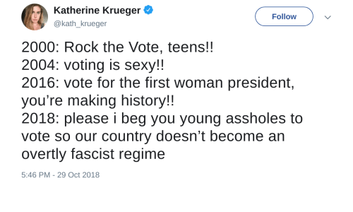 Sexy, History, and Beg You: Katherine Krueger  @kath_krueger  Follow  2000: Rock the Vote, teens!!  2004: voting is sexy!!  2016: vote for the first woman president,  you're making history!  2018: please i beg you young assholes to  vote so our country doesn't become an  overtly fascist regime  5:46 PM-29 Oct 2018