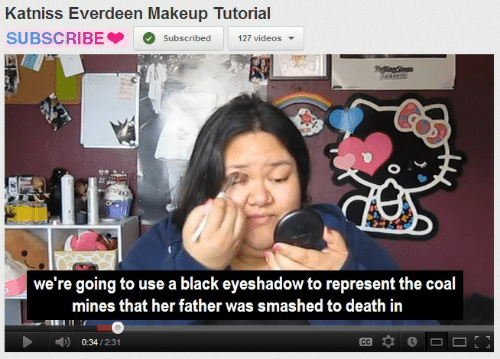 Makeup, Videos, and Black: Katniss Everdeen Makeup Tutorial  SUBSCRIBESubscribed 127 videos  we're going to use a black eyeshadow to represent the coal  mines that her father was smashed to death iin  0:34/2:31