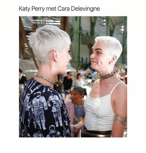 Cara Delevingne, Katy Perry, and Memes: Katy Perry met Cara Delevingne