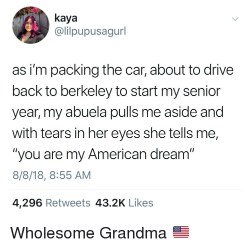 "Grandma, American, and Drive: kaya  @lilpupusagurl  as i'm packing the car, about to drive  back to berkeley to start my senior  year, my abuela pulls me aside and  with tears in her eyes she tells me,  ""you are my American dream""  8/8/18, 8:55 AM  4,296 Retweets 43.2K Likes Wholesome Grandma 🇺🇸"