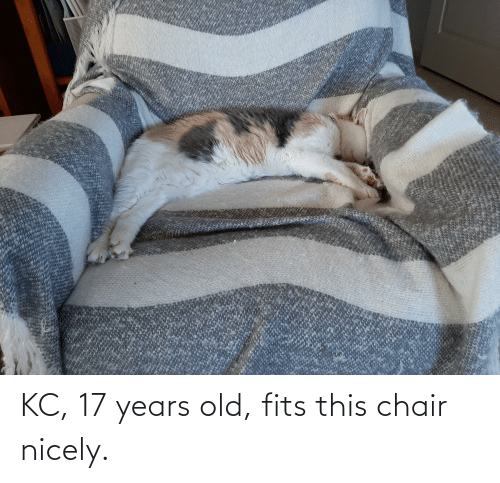 17 years: KC, 17 years old, fits this chair nicely.