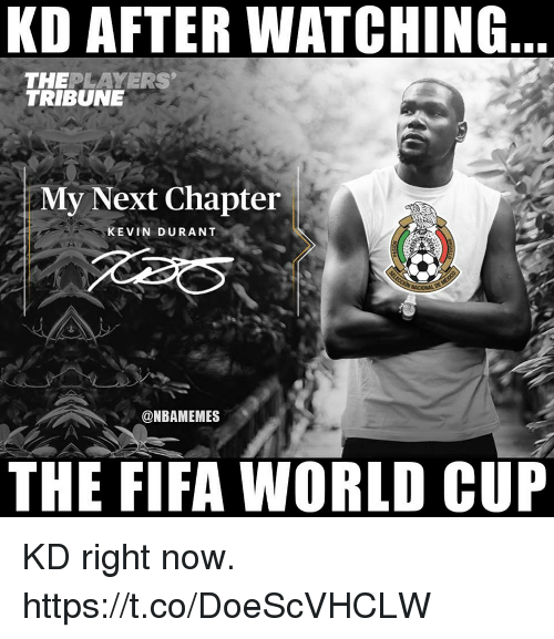 Fifa, Kevin Durant, and World Cup: KD AFTER WATCHING  THEPLAYERS  TRIBUNE  My Next Chapter  KEVIN DURANT  @NBAMEMES  THE FIFA WORLD CUP KD right now. https://t.co/DoeScVHCLW