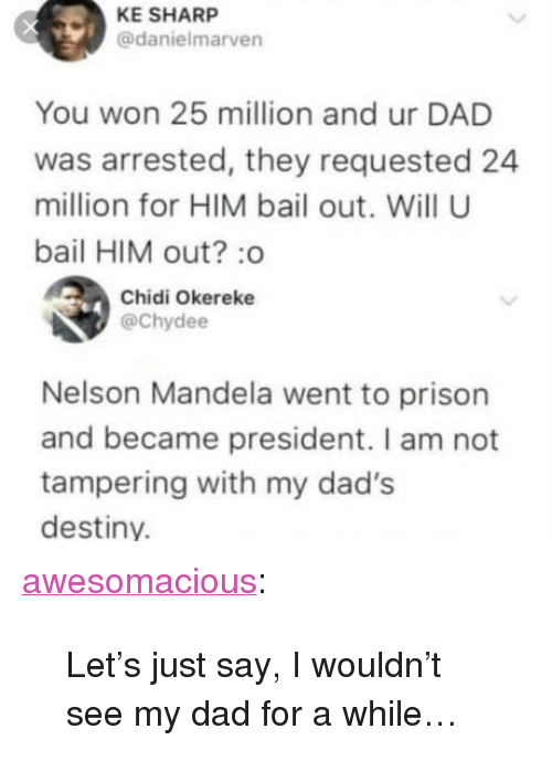 "Nelson Mandela: KE SHARP  @danielmarven  You won 25 million and ur DAD  was arrested, they requested 24  million for HIM bail out. Will U  bail HIM out? :o  Chidi Okereke  @Chydee  Nelson Mandela went to prison  and became president. I am not  tampering with my dad's  destiny. <p><a href=""http://awesomacious.tumblr.com/post/170508064397/lets-just-say-i-wouldnt-see-my-dad-for-a-while"" class=""tumblr_blog"">awesomacious</a>:</p>  <blockquote><p>Let's just say, I wouldn't see my dad for a while…</p></blockquote>"