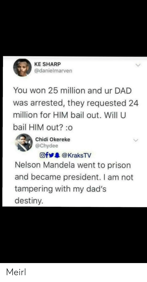 Bailed Out: KE SHARP  @danielmarven  You won 25 million and ur DAD  was arrested, they requested 24  million for HIM bail out. Will U  bail HIM out?:o  Chidi Okereke  @chydee  Ofy.. @ KraksTV  Nelson Mandela went to prison  and became president. I am not  tampering with my dad's  destiny. Meirl