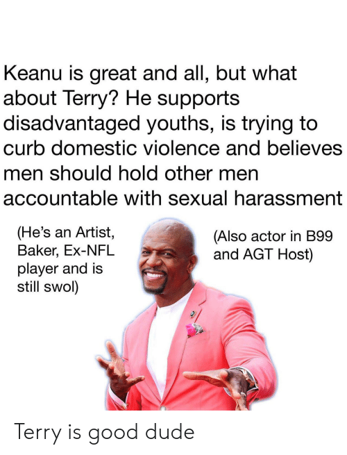 Dude, Nfl, and Domestic Violence: Keanu is great and all, but what  about Terry? He supports  disadvantaged youths, is trying to  curb domestic violence and believes  men should hold other men  accountable with sexual harassment  (He's an Artist,  Baker, Ex-NFL  player and is  still swol)  (Also actor in B99  and AGT Host) Terry is good dude