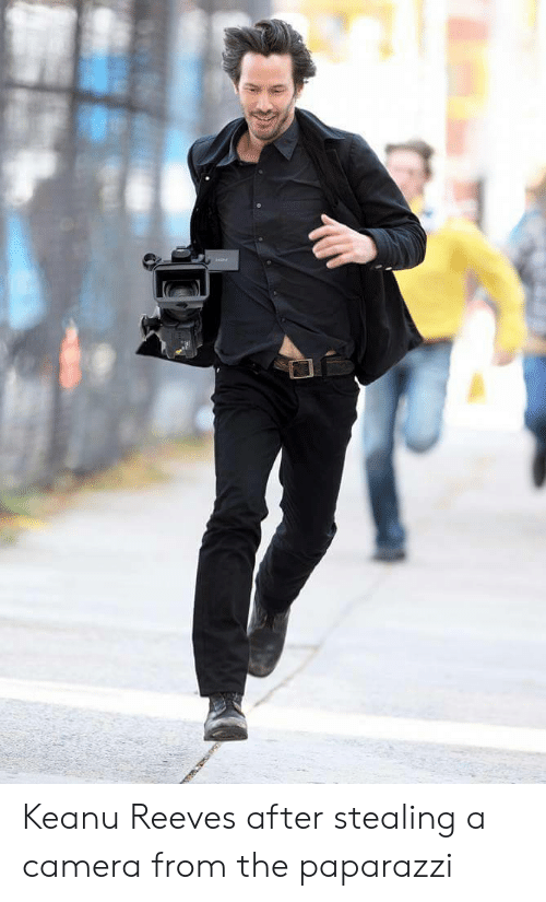 Camera, Keanu Reeves, and Paparazzi: Keanu Reeves after stealing a camera from the paparazzi