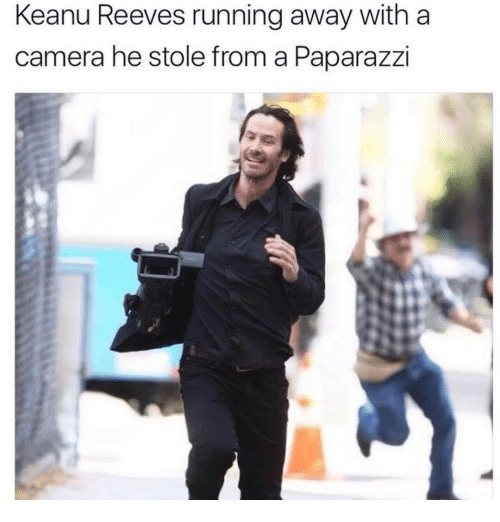 Camera, Running, and Keanu Reeves: Keanu Reeves running away with a  camera he stole from a Paparazzi