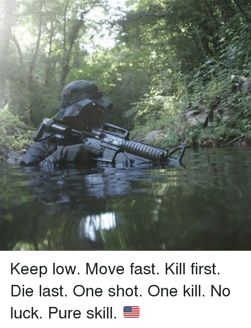no luck: Keep low. Move fast. Kill first. Die last. One shot. One kill. No luck. Pure skill. 🇺🇸