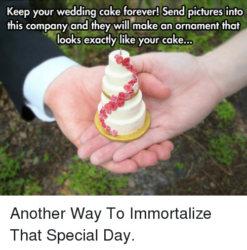 Cake, Forever, and Pictures: Keep your wedding cake forever! Send pictures into  this company and they will make an ornament that  looks exactly like your cake... <p>Another Way To Immortalize That Special Day.</p>
