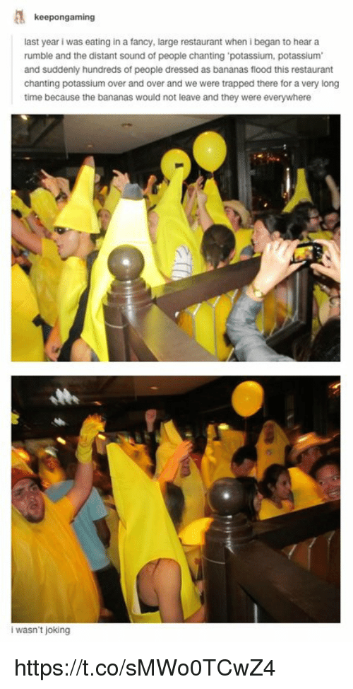Fancy, Potassium, and Restaurant: keepongaming  last year i was eating in a fancy, large restaurant when i began to hear a  rumble and the distant sound of people chanting 'potassium, potassium  and suddenly hundreds of people dressed as bananas flood this restaurant  chanting potassium over and over and we were trapped there for a very long  time because the bananas would not leave and they were everywhere  i wasn't joking https://t.co/sMWo0TCwZ4