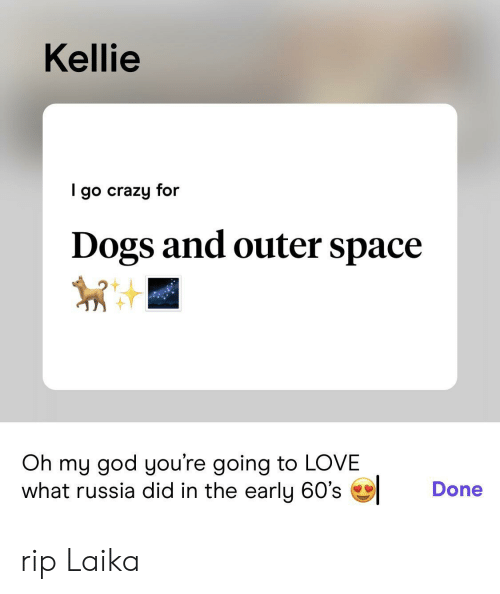 outer: Kellie  go crazy for  Dogs and outer space  Oh my god you're going to LOVE  what russia did in the early 60's  Done rip Laika