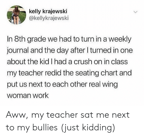 just kidding: kelly krajewski  @kellykrajewski  In 8th grade we had to turn ina weekly  journal and the day after I turned in one  about the kid I had a crush on in class  my teacher redid the seating chart and  put us next to each other real wing  woman work Aww, my teacher sat me next to my bullies (just kidding)