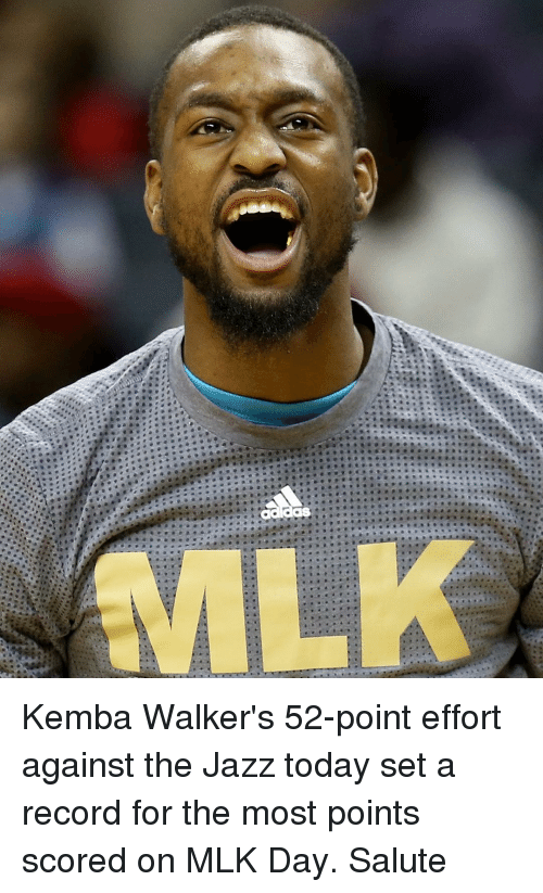 MLK Day, Sports, and Record: Kemba Walker's 52-point effort against the Jazz today set a record for the most points scored on MLK Day. Salute