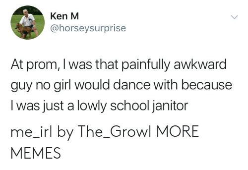 janitor: Ken M  @horseysurprise  At prom, I was that painfully awkward  guy no girl would dance with because  I was just a lowly school janitor me_irl by The_Growl MORE MEMES