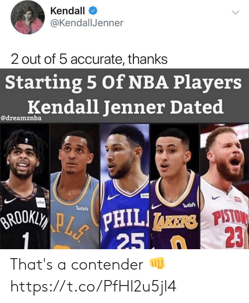 Kendall Jenner, Memes, and Nba: Kendall  @KendallJenner  2 out of 5 accurate, thanks  Starting 5 Of NBA Players  Kendall Jenner Dated  @dreamznba  wish  wish  BROOKLY PPHILI  1  23  25 n That's a contender 👊 https://t.co/PfHl2u5jl4