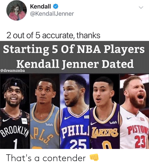 Kendall Jenner, Nba, and Kendall: Kendall  @KendallJenner  2 out of 5 accurate, thanks  Starting 5 Of NBA Players  Kendall Jenner Dated  @dreamznba  wish  wish  BRUUKLY PPHILI AERSPISTO  25  23  1 That's a contender 👊