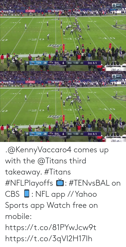 Free: .@KennyVaccaro4 comes up with the @Titans third takeaway. #Titans #NFLPlayoffs  📺: #TENvsBAL on CBS 📱: NFL app // Yahoo Sports app Watch free on mobile: https://t.co/81PYwJcw9t https://t.co/3qVI2H17Ih