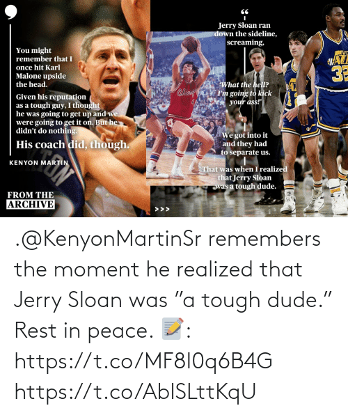 """The Moment: .@KenyonMartinSr remembers the moment he realized that Jerry Sloan was """"a tough dude."""" Rest in peace.   📝: https://t.co/MF8I0q6B4G https://t.co/AbISLttKqU"""
