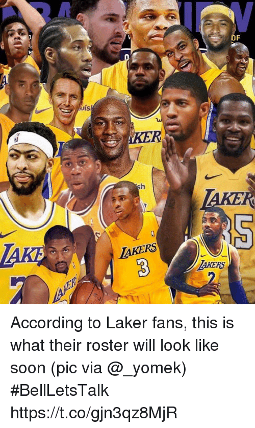 Soon..., Sports, and According: KER  AKERS  AKERS According to Laker fans, this is what their roster will look like soon   (pic via @_yomek) #BellLetsTalk https://t.co/gjn3qz8MjR