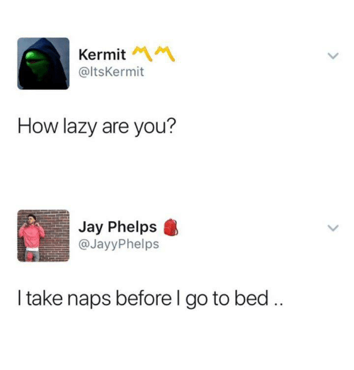 Jay, Lazy, and Humans of Tumblr: Kermit  @ltsKermit  How lazy are you?  Jay Phelps  @JayyPhelps  I take naps before l go to bed..