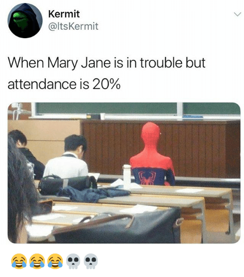 Girl Memes, Kermit, and Mary: Kermit  @ltsKermit  When Mary Jane is in trouble but  attendance is 20% 😂😂😂💀💀