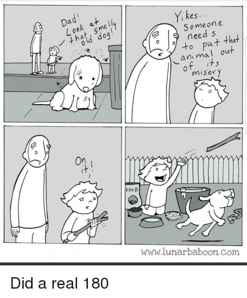 Food, Animal, and Com: kes  i ..  S omeone  need s  to put that  animal out  misery  On  FooD  www.lunarbaboon.com Did a real 180