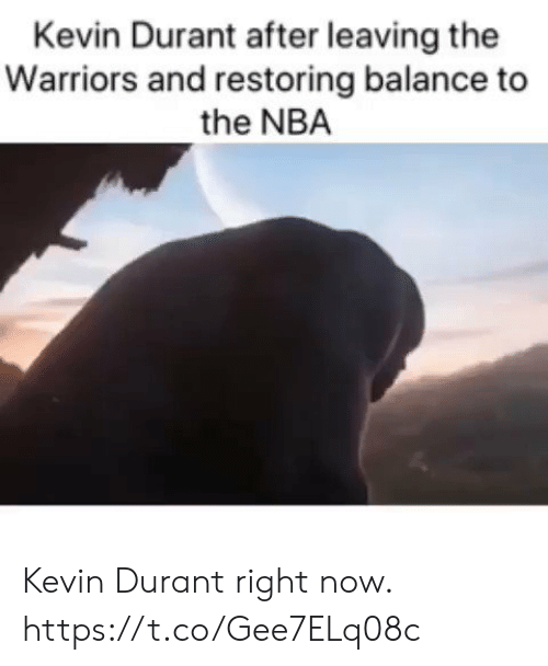 Kevin Durant, Nba, and Warriors: Kevin Durant after leaving the  Warriors and restoring balance to  the NBA Kevin Durant right now. https://t.co/Gee7ELq08c