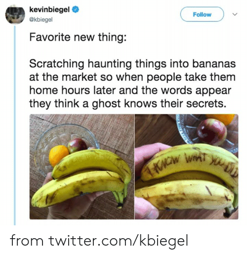 Dank, Twitter, and Ghost: kevinbiegel  Follow  @kbiegel  Favorite new thing:  Scratching haunting things into bananas  at the market so when people take them  home hours later and the words appear  they think a ghost knows their secrets. from twitter.com/kbiegel